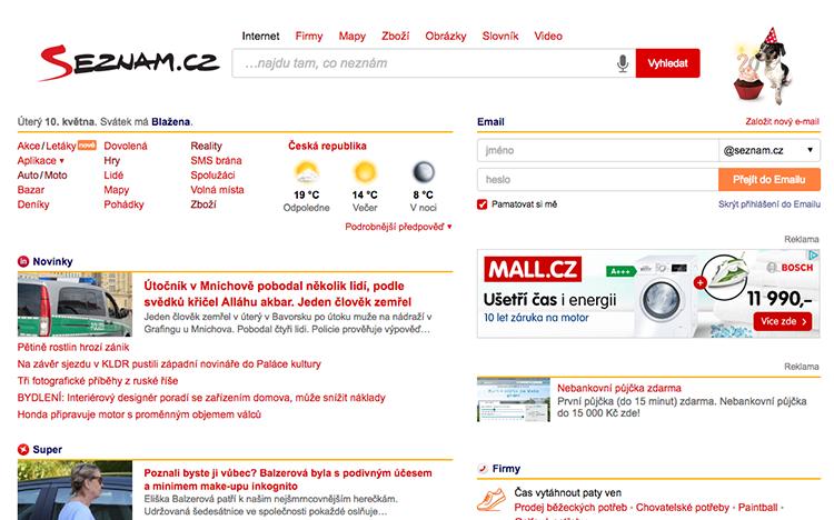 Скришнот чешского поисковика Seznam